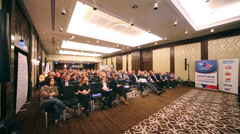 Viewers at Conference of specialists of media industry Stock Footage