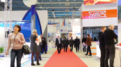 People at VI International Exhibition Transport of Russia Stock Footage