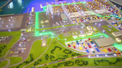 Small model of seaport at VI International Exhibition Transport Stock Footage