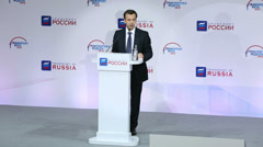 Arkady Dvorkovich speaks at Exhibition Transport of Russia Stock Footage