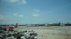 Timelapse of plane terminal of Changi International Airport in Singapore Stock Footage