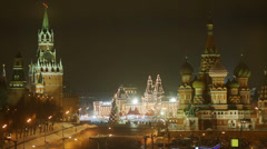Kremlin and St. Basil cathedral at dark winter night Stock Footage