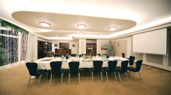 Christmas tree and served banquet table at Hotel. Stock Footage