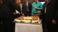 Cutting cake after Conference of leaders and leading specialists Stock Footage