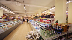 Employees in supermarket of home food Bahetle. Stock Footage