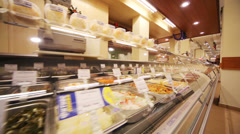 Counter with salads in supermarket of home food Bahetle Stock Footage