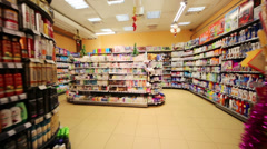 Section of household chemicals in supermarket of home food Stock Footage