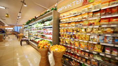 Fruit and Vegetables in supermarket of home food Bahetle - stock footage