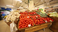 Section of Fruit and Vegetables in supermarket of home food Stock Footage