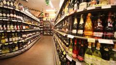 Wine in supermarket of home food Bahetle. Stock Footage