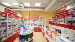 Pharmacy in supermarket of home food Bahetle. Stock Footage