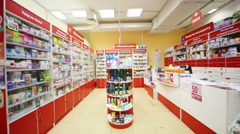 Empty pharmacy in supermarket of home food Bahetle. Stock Footage