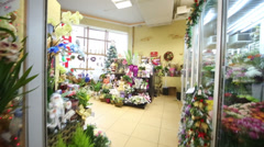 Flowers section in supermarket of home food Bahetle. Stock Footage