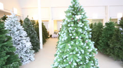 Storage room with rows of artificial Christmas trees Stock Footage
