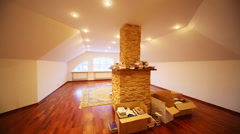Turning off in room with box and books on carpet and fireplace Stock Footage