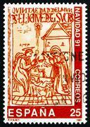 Postimerkki Espanja 1991 Kristuksen syntymä, kuva alkaen Boo Kuvituskuvat