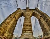 Stock Photo of Powerful structure of Brooklyn Bridge in New York City at Winter