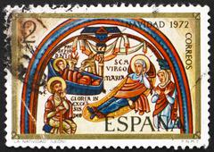 Postage stamp Spain 1972 Annunciation, Romanesque Mural, Christm - stock photo