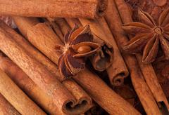 Cinnamon Sticks and Anise Stock Photos