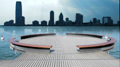 City skyline cityscape. water lake pond. modern futuristic architecture Stock Footage