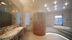 Turning off in spacious bathroom with jacuzzi Stock Footage