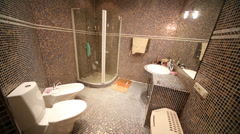 Bathroom with shower cabin, toilet and bidet with small tiles Stock Footage