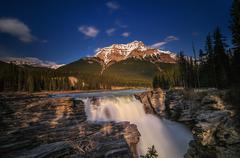 Athabasca Falls sunset - stock photo