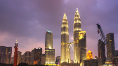 Petronas Twin Towers Sunset Timelapse Close Up Stock Footage