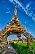La Tour Eiffel - Beautiful winter day in Paris, Eiffel Tower fro - stock photo