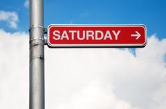 Street sign - saturday - stock photo