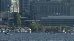 Seaplane taking off from Lake Union in Seattle. 4K, UHD Stock Footage