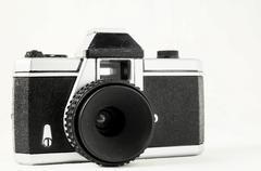 Classic 35mm plastic toy photo camera Stock Photos