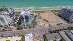 Aerial video of beachfront condos Surfside Stock Footage