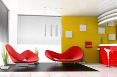 red sofa in cafe - stock illustration
