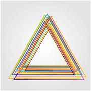 Vector illustration of triangle made from color lines - stock illustration
