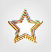 Illustration of star made from color lines Stock Illustration
