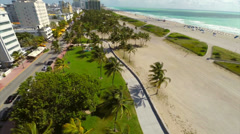 Aerial South Beach palm trees Stock Footage