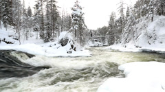 Wooden bridge above Myllykoski rapids Juuma Oulanka Nat Pk Finland Stock Footage