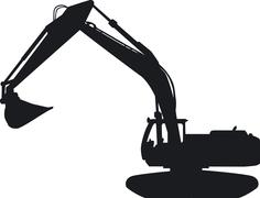 A tracked excavator with its impressive blade Stock Illustration