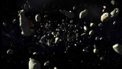 Danger, asteroids moving Stock Footage