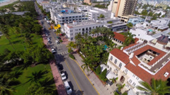 Aerial Ocean Drive southbound Stock Footage