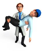 Stock Illustration of Young doctor analyzed patient