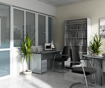 workplace at office - stock illustration