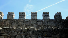 Castel wall close up, Castelo Branco Portugal Stock Footage