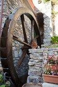 the old watermill in manarola - stock photo