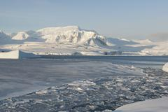 antarctic coast winter day. - stock photo