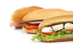 Sandwich with mozzarella tomato and salad - stock photo