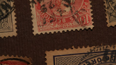 Old stamps close up Stock Footage