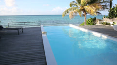 View of infinity pool in the caribbean island Stock Footage
