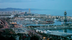 Port Vell in evening. Barcelona Stock Footage